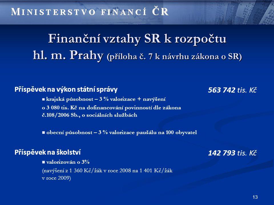 13 Finanční vztahy SR k rozpočtu hl. m. Prahy (příloha č.