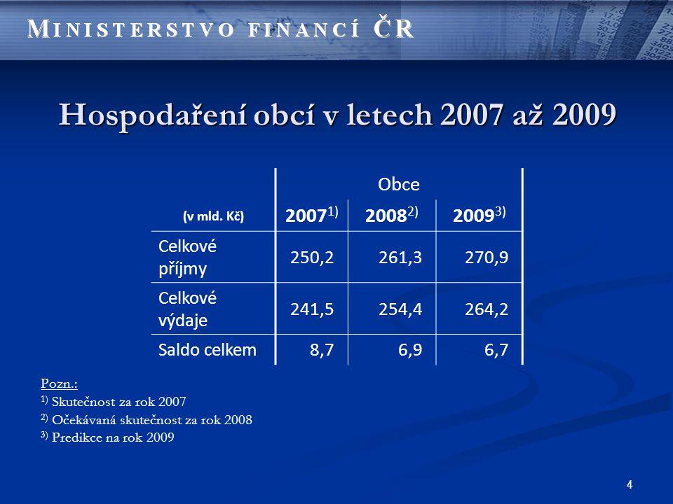 5 Struktura příjmů a výdajů obcí v letech 2007 až 2009 Ukazatel 2007 skutečnost 2008 očekávaná skutečnost 2009 predikce v mld.