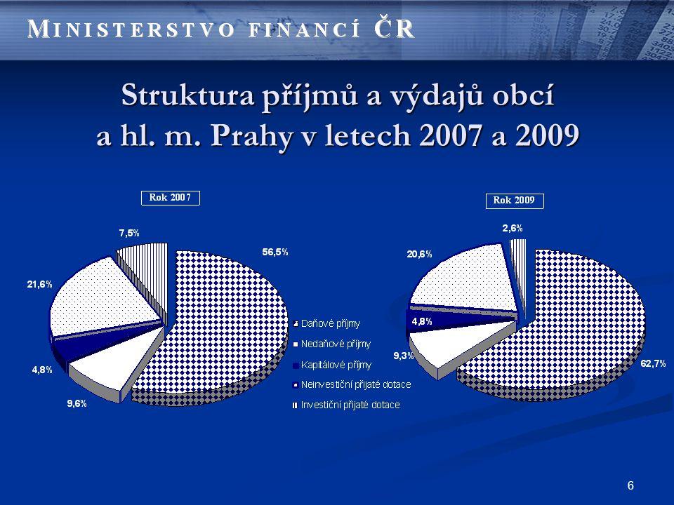 6 Struktura příjmů a výdajů obcí a hl. m. Prahy v letech 2007 a 2009
