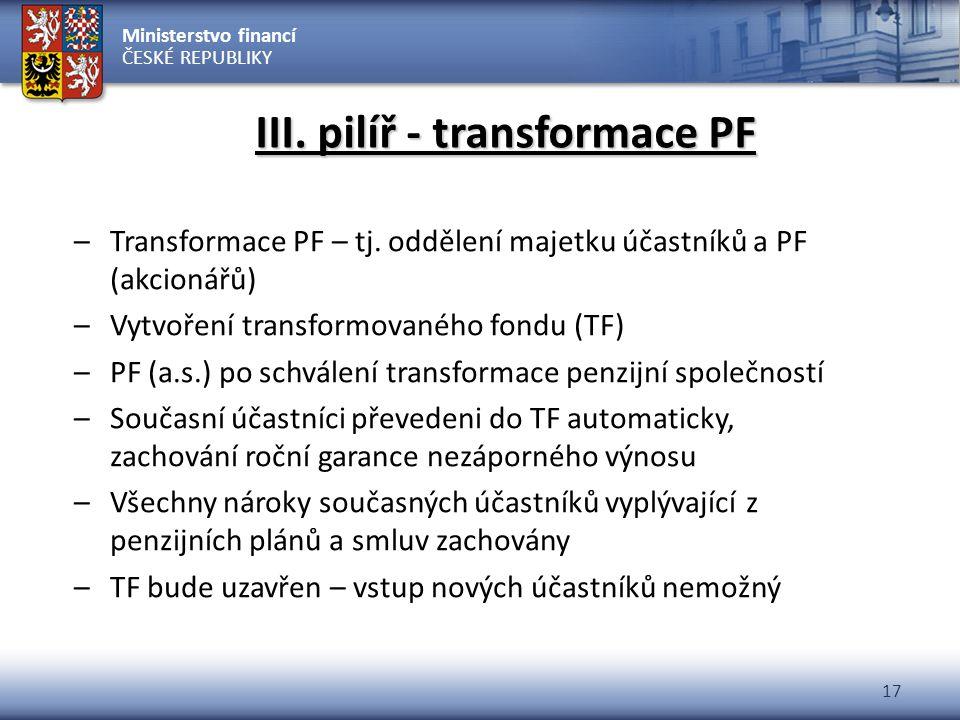 Ministerstvo financí ČESKÉ REPUBLIKY 17 III. pilíř - transformace PF –Transformace PF – tj. oddělení majetku účastníků a PF (akcionářů) –Vytvoření tra