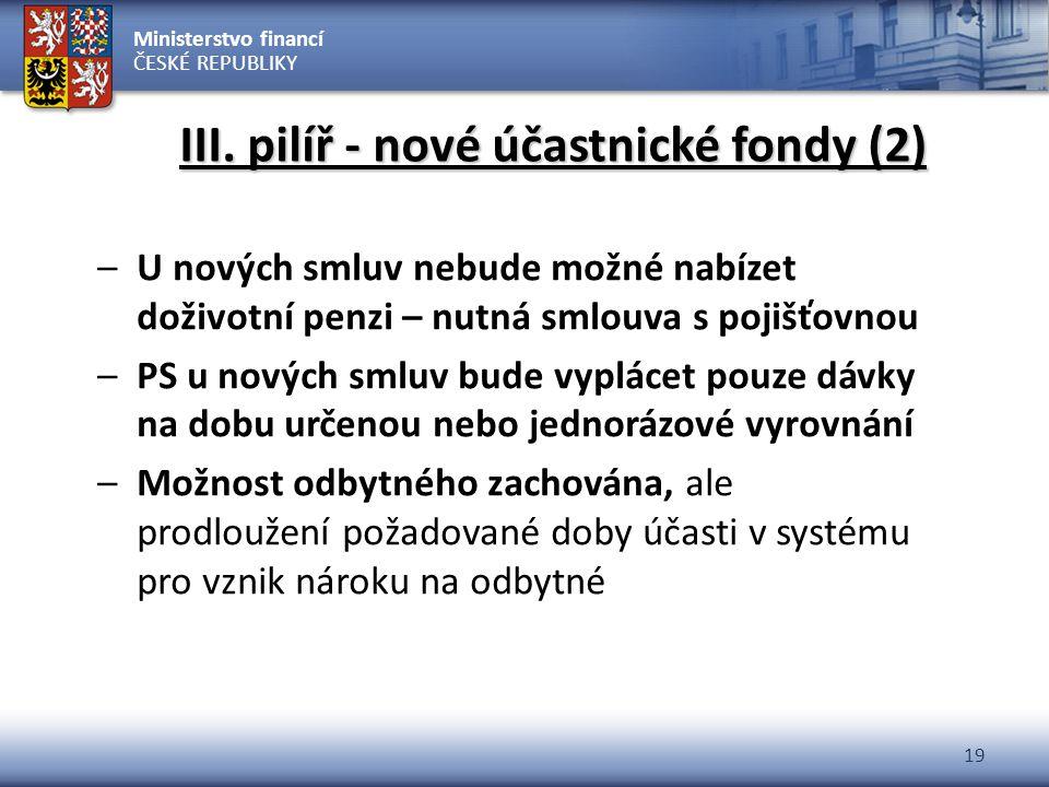 Ministerstvo financí ČESKÉ REPUBLIKY 19 III. pilíř - nové účastnické fondy (2) –U nových smluv nebude možné nabízet doživotní penzi – nutná smlouva s