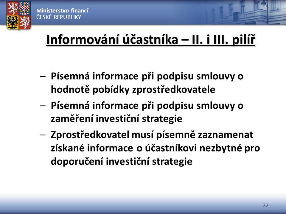 Ministerstvo financí ČESKÉ REPUBLIKY 22 Informování účastníka – II. i III. pilíř –Písemná informace při podpisu smlouvy o hodnotě pobídky zprostředkov