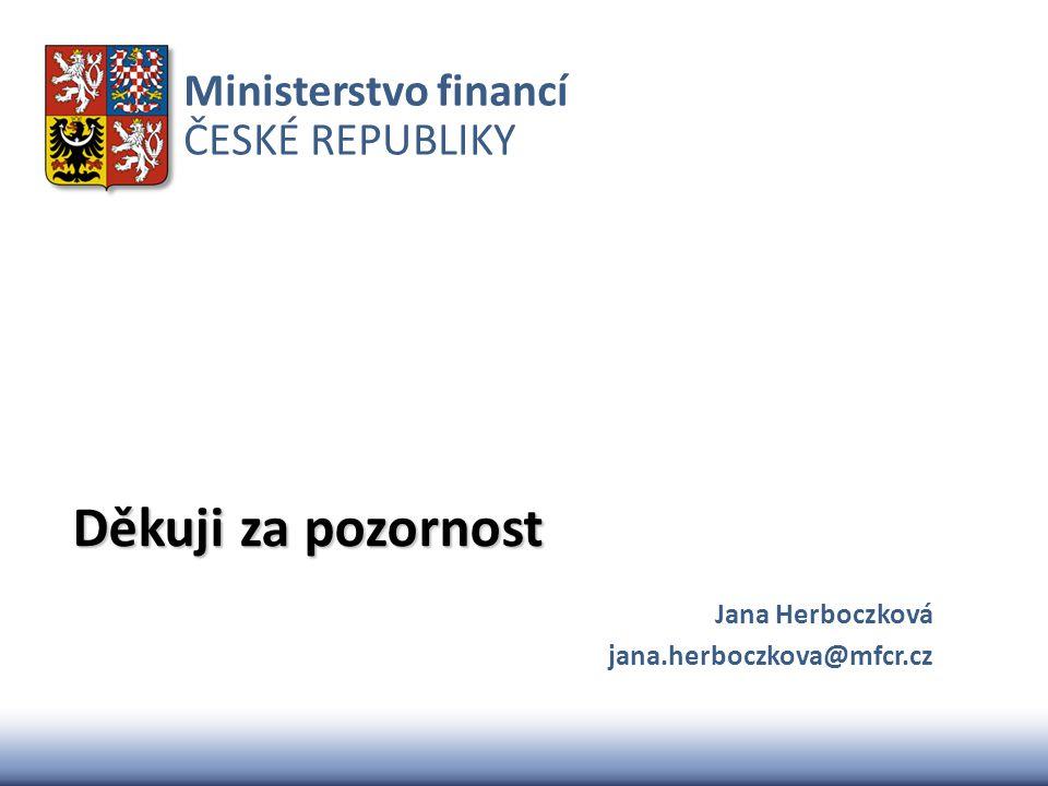 Ministerstvo financí ČESKÉ REPUBLIKY Děkuji za pozornost Jana Herboczková jana.herboczkova@mfcr.cz