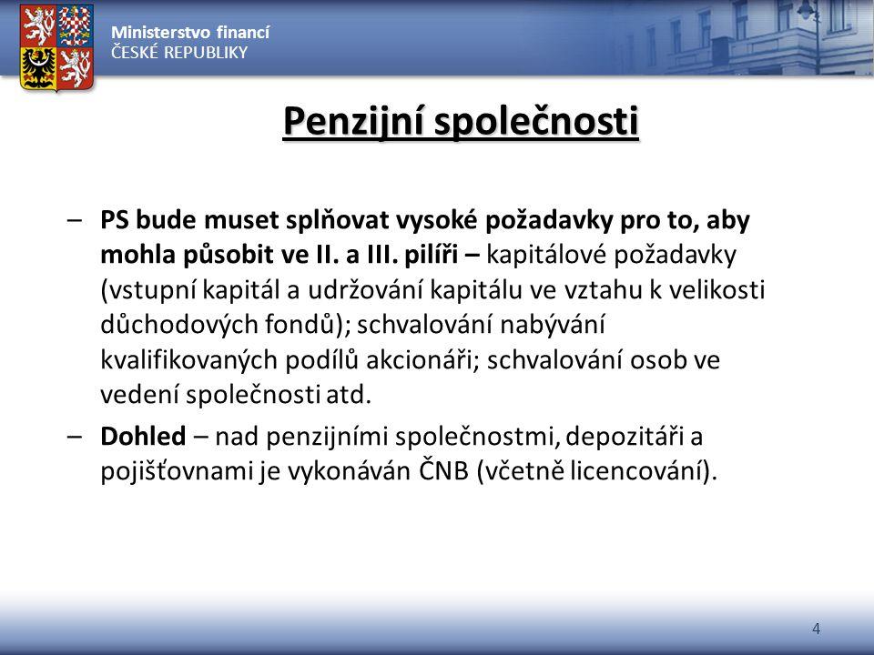 Ministerstvo financí ČESKÉ REPUBLIKY 4 Penzijní společnosti –PS bude muset splňovat vysoké požadavky pro to, aby mohla působit ve II. a III. pilíři –