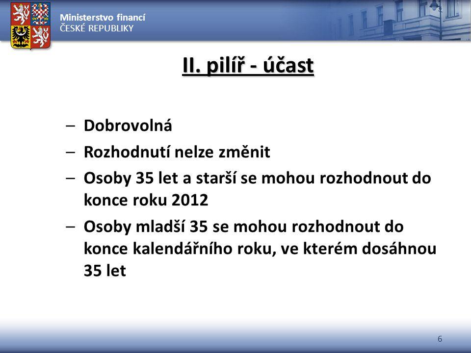 Ministerstvo financí ČESKÉ REPUBLIKY 6 II. pilíř - účast –Dobrovolná –Rozhodnutí nelze změnit –Osoby 35 let a starší se mohou rozhodnout do konce roku