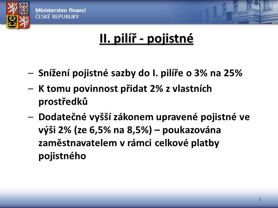 Ministerstvo financí ČESKÉ REPUBLIKY 7 II. pilíř - pojistné –Snížení pojistné sazby do I. pilíře o 3% na 25% –K tomu povinnost přidat 2% z vlastních p