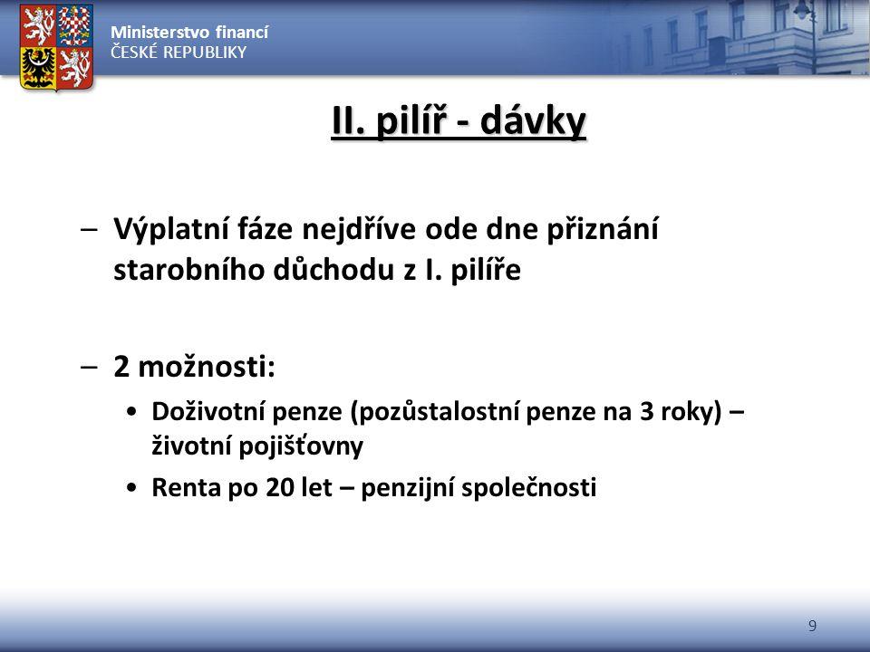 Ministerstvo financí ČESKÉ REPUBLIKY 9 II. pilíř - dávky –Výplatní fáze nejdříve ode dne přiznání starobního důchodu z I. pilíře –2 možnosti: Doživotn