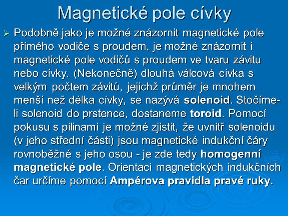 Magnetické pole cívky  Podobně jako je možné znázornit magnetické pole přímého vodiče s proudem, je možné znázornit i magnetické pole vodičů s proudem ve tvaru závitu nebo cívky.