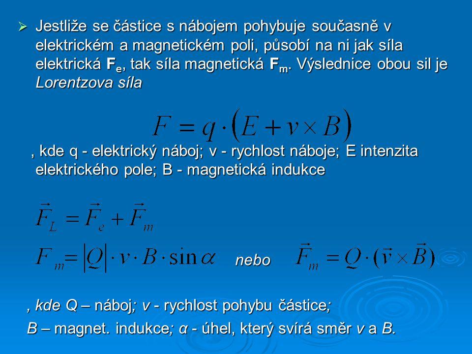  Jestliže se částice s nábojem pohybuje současně v elektrickém a magnetickém poli, působí na ni jak síla elektrická F e, tak síla magnetická F m.