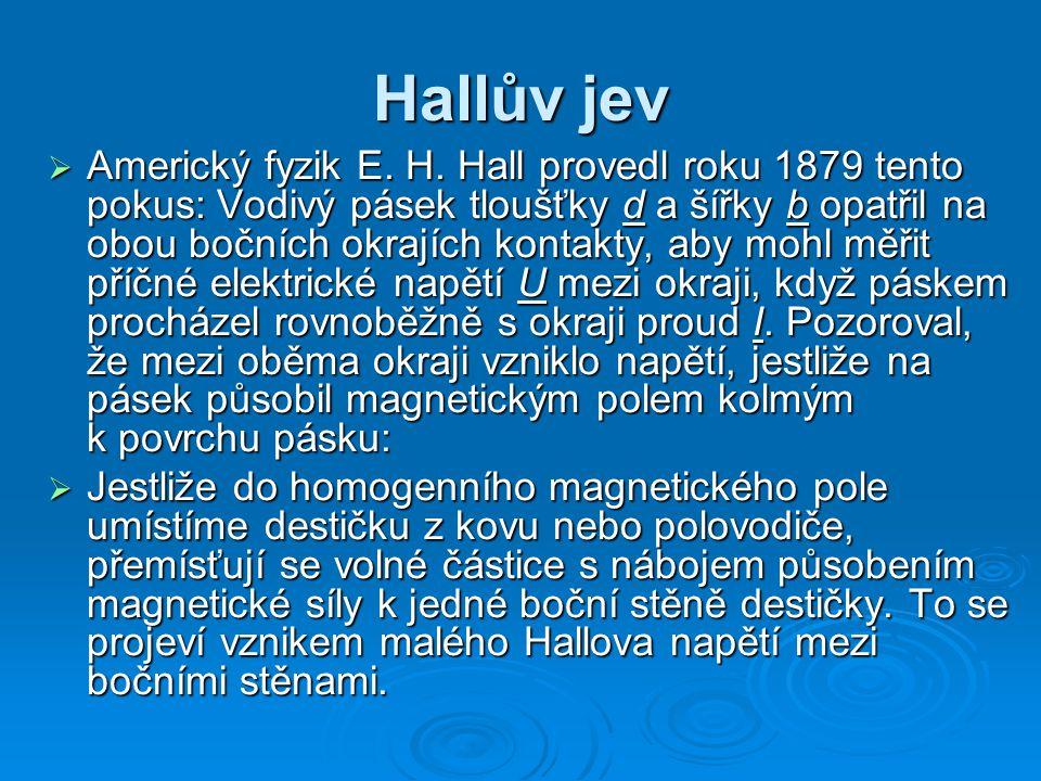 Hallův jev  Americký fyzik E.H.
