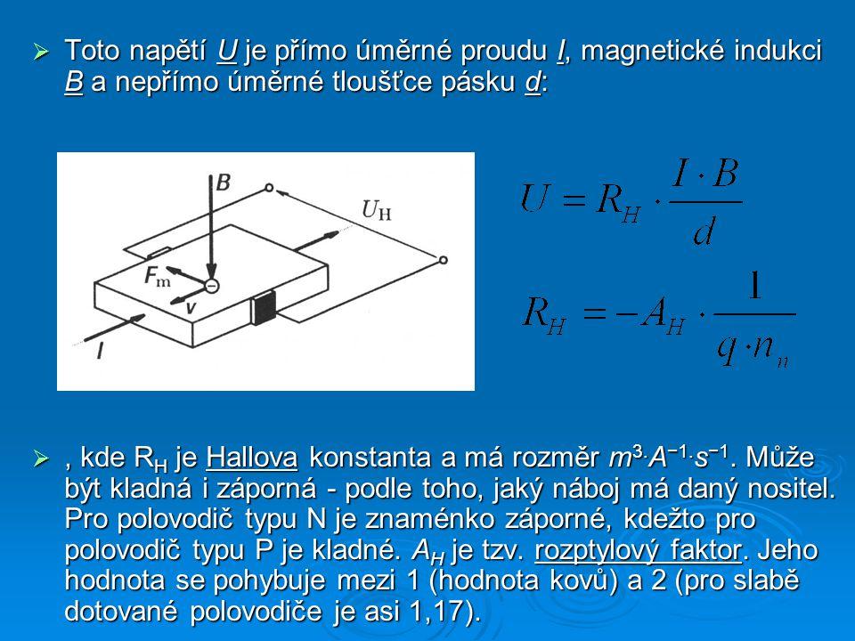  Toto napětí U je přímo úměrné proudu I, magnetické indukci B a nepřímo úměrné tloušťce pásku d: , kde R H je Hallova konstanta a má rozměr m 3. A −