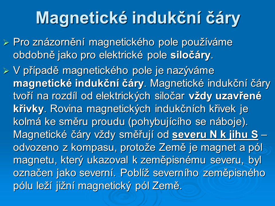 Magnetické indukční čáry  Pro znázornění magnetického pole používáme obdobně jako pro elektrické pole siločáry.