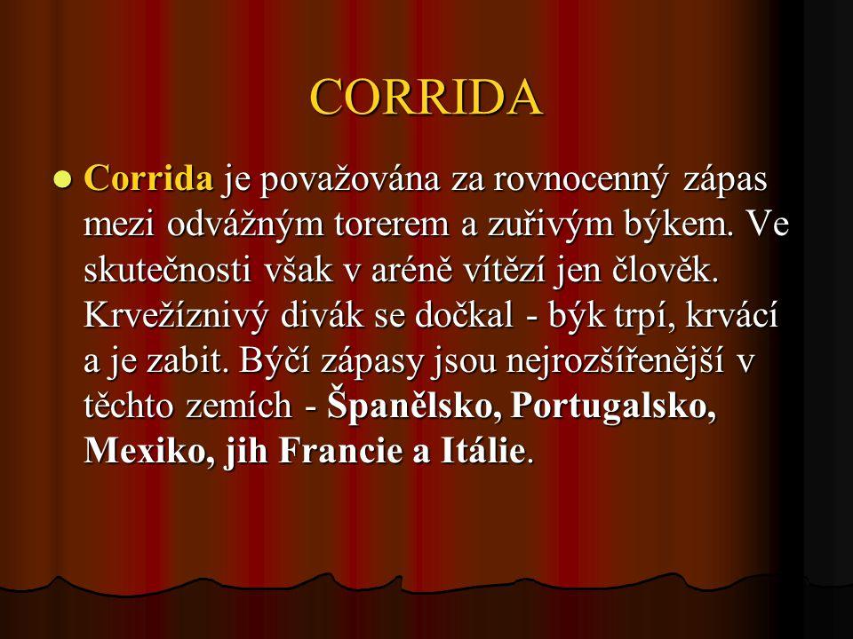 CORRIDA Corrida je považována za rovnocenný zápas mezi odvážným torerem a zuřivým býkem.