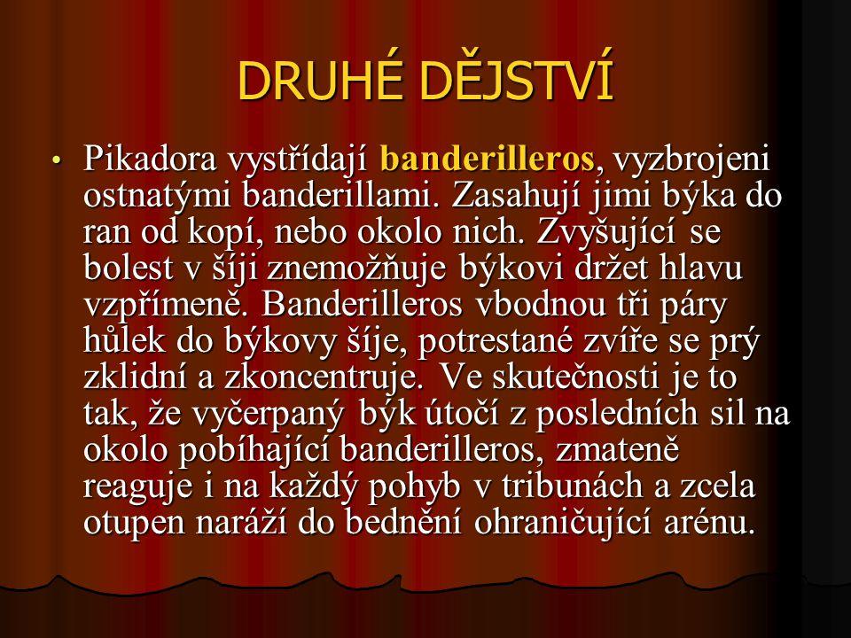 DRUHÉ DĚJSTVÍ Pikadora vystřídají banderilleros, vyzbrojeni ostnatými banderillami.