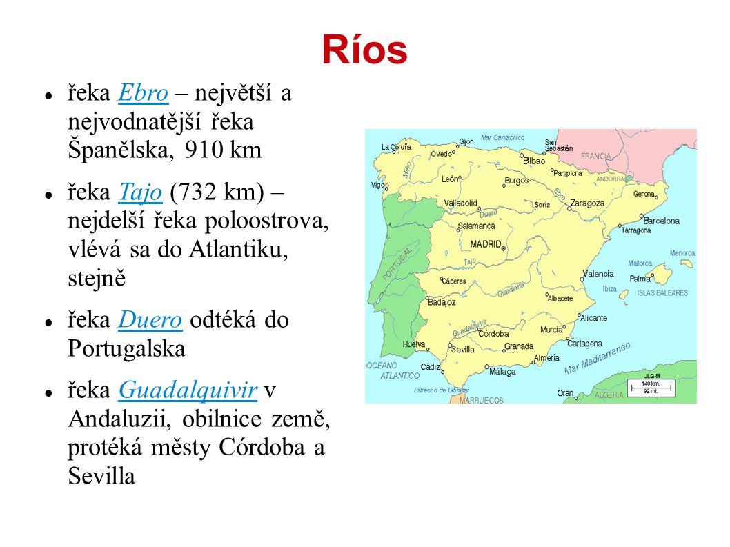 Ríos řeka Ebro – největší a nejvodnatější řeka Španělska, 910 km řeka Tajo (732 km) – nejdelší řeka poloostrova, vlévá sa do Atlantiku, stejně řeka Duero odtéká do Portugalska řeka Guadalquivir v Andaluzii, obilnice země, protéká městy Córdoba a Sevilla