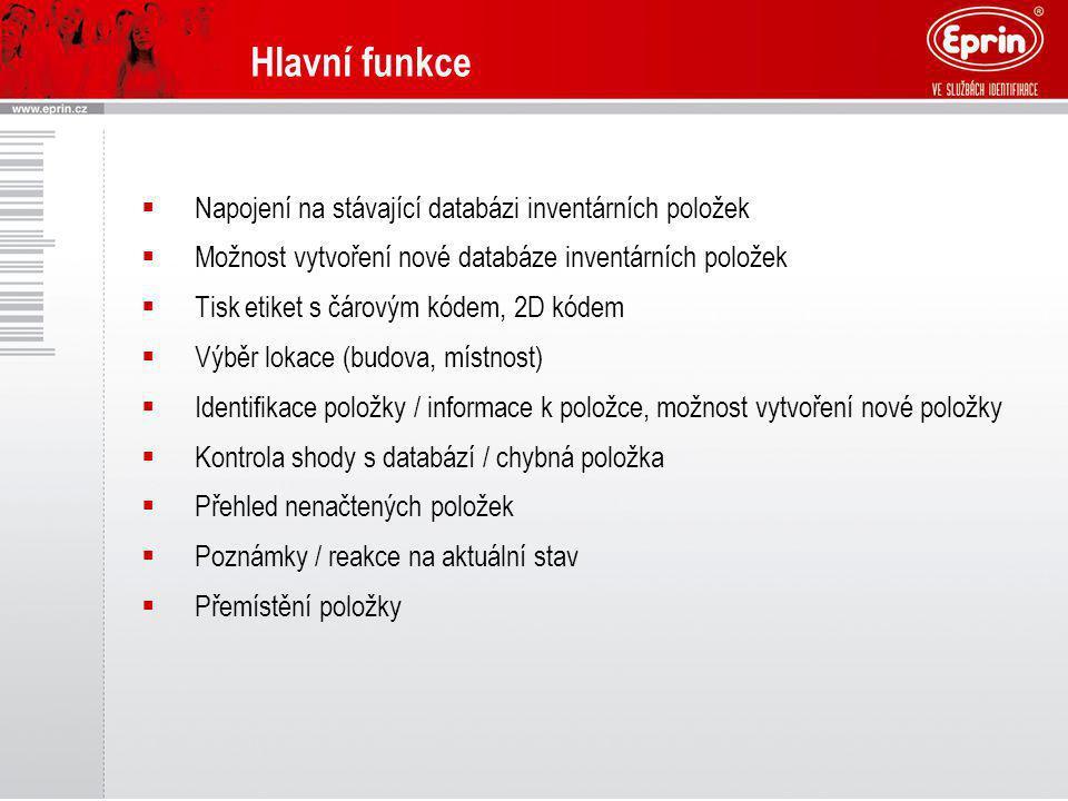 Hlavní funkce  Napojení na stávající databázi inventárních položek  Možnost vytvoření nové databáze inventárních položek  Tisk etiket s čárovým kód