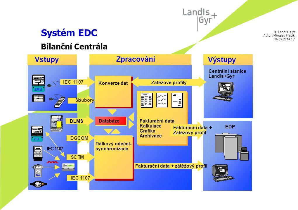 © Landis+Gyr Autor: Miroslav Hladík 16.09.2014 / 8 Architektura systému EDC Popis HW architektury EDC řešení je provozováno na běžném kancelářském HW.