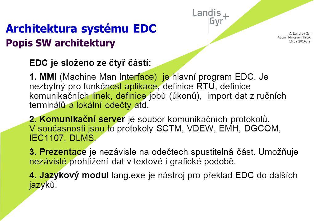 © Landis+Gyr Autor: Miroslav Hladík 16.09.2014 / 10 Architektura systému EDC Popis SW architektury