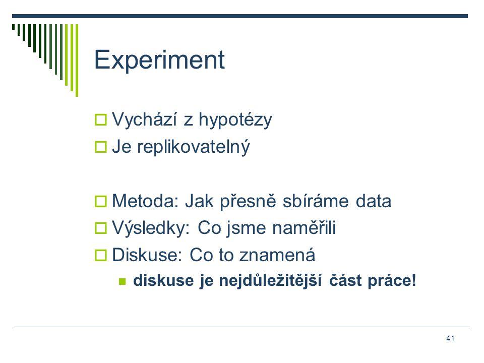 Experiment  Vychází z hypotézy  Je replikovatelný  Metoda: Jak přesně sbíráme data  Výsledky: Co jsme naměřili  Diskuse: Co to znamená diskuse je nejdůležitější část práce.