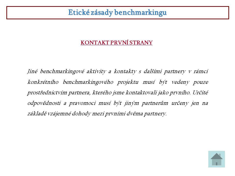 Etické zásady benchmarkingu KONTAKT PRVNÍ STRANY Jiné benchmarkingové aktivity a kontakty s dalšími partnery v rámci konkrétního benchmarkingového pro