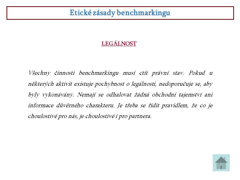 Etické zásady benchmarkingu LEGÁLNOST Všechny činnosti benchmarkingu musí ctít právní stav. Pokud u některých aktivit existuje pochybnost o legálnosti
