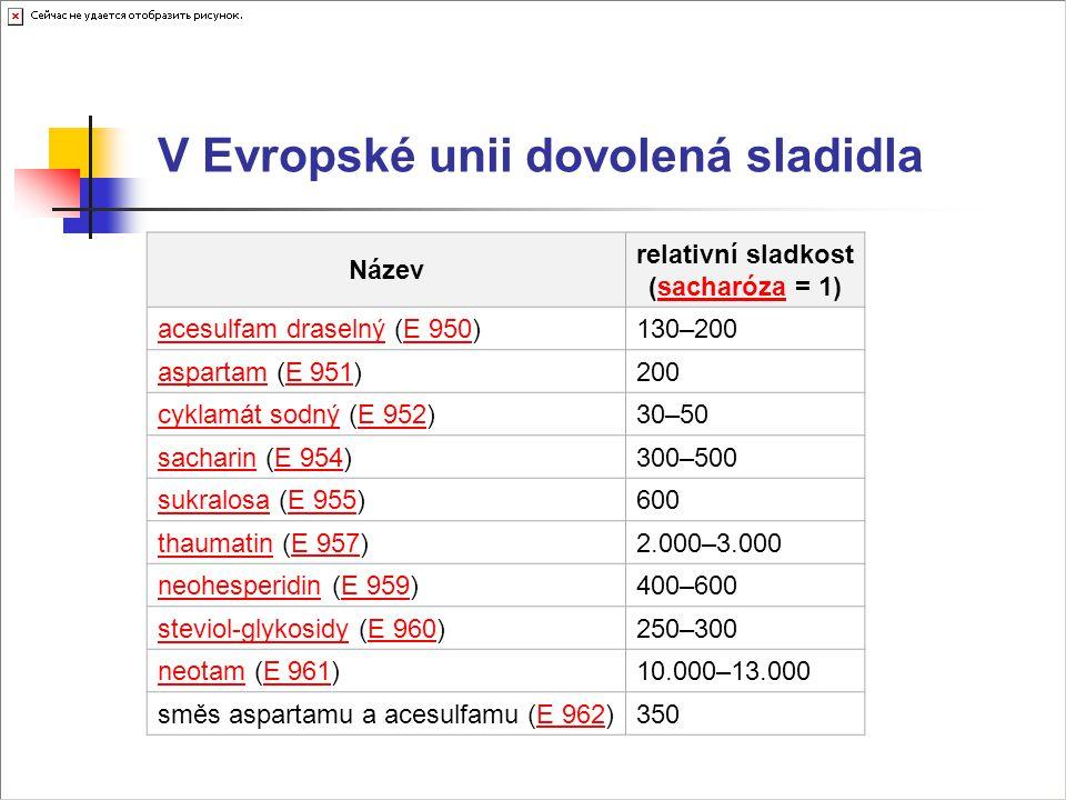 V Evropské unii dovolená sladidla Název relativní sladkost (sacharóza = 1)sacharóza acesulfam draselnýacesulfam draselný (E 950)E 950130–200 aspartama