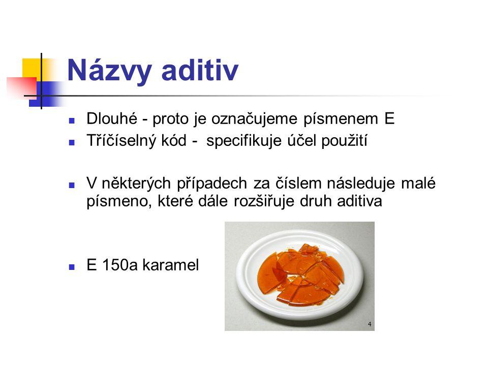 E čísladruhy aditiv E100 - E199barviva E200 - E299konzervanty E300 - E399antioxidanty, regulátory kyselosti E400 - E499emulgátory, zahušťovadla, stabilizátory E500 - E599protispékavé látky, regulátory kyselosti, plnidla E600 - E699látky zvýrazňující chuť a vůni E900 - E999lešticí látky, sladidla, balicí plyny, propelanty E1000 - E1999další látky Přehled aditiv: