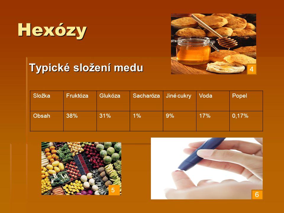Hexózy Typické složení medu SložkaFruktózaGlukózaSacharózaJiné cukryVodaPopel Obsah38%31%1%9%17%0,17% 4 6 5