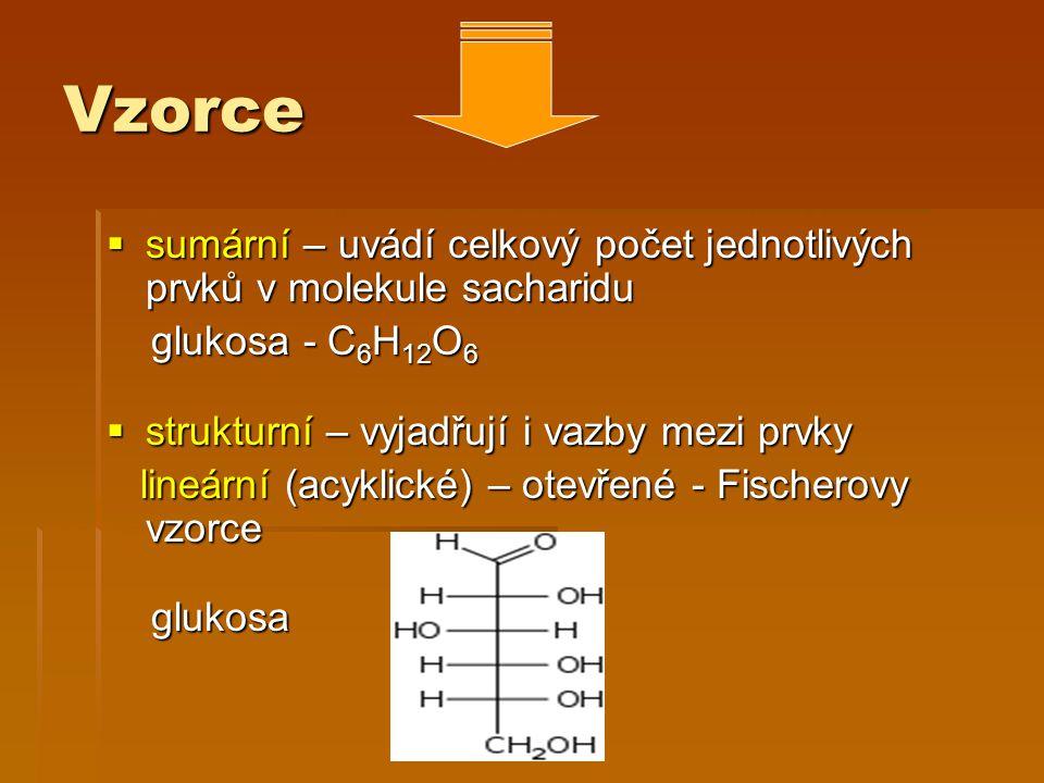 Vzorce  sumární – uvádí celkový počet jednotlivých prvků v molekule sacharidu glukosa - C 6 H 12 O 6 glukosa - C 6 H 12 O 6  strukturní – vyjadřují