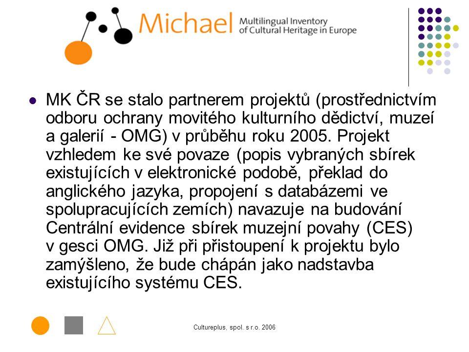 Cultureplus, spol. s r.o. 2006 Projekt MICHAEL (http://www.michael-culture.org/) si klade za úkol zpřístupnit kulturní dědictví členských států Evrops