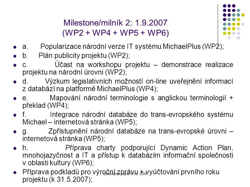 Milestone/milník 1: 1.12.2006 (WP2 + WP3 + WP6) a. Instalace IT systému Michael na národní úrovni (adaptace systému vytvořeného pro projekt Michael 20