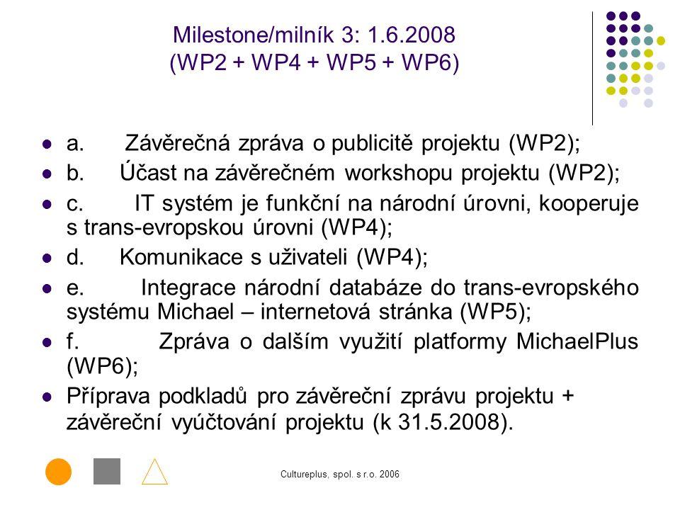 Cultureplus, spol. s r.o. 2006 Milestone/milník 2: 1.9.2007 (WP2 + WP4 + WP5 + WP6) a. Popularizace národní verze IT systému MichaelPlus (WP2); b. Plá