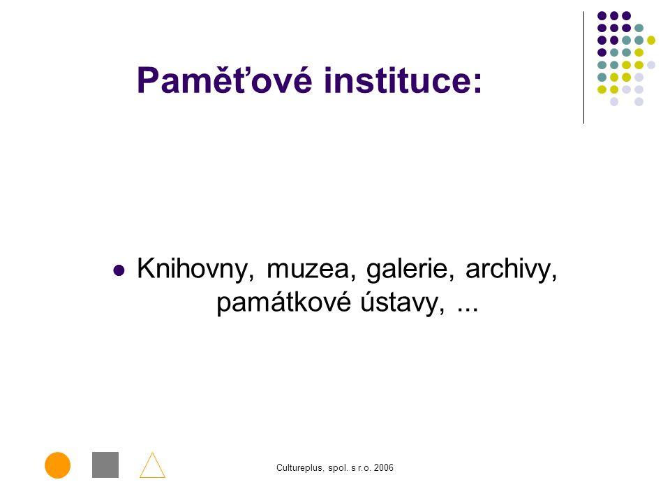 Cultureplus, spol. s r.o. 2006 EU a paměťové instituce Účast MK ČR v evropských projektech – komunitární programy Projekt Michael a MichaelPlus Implem