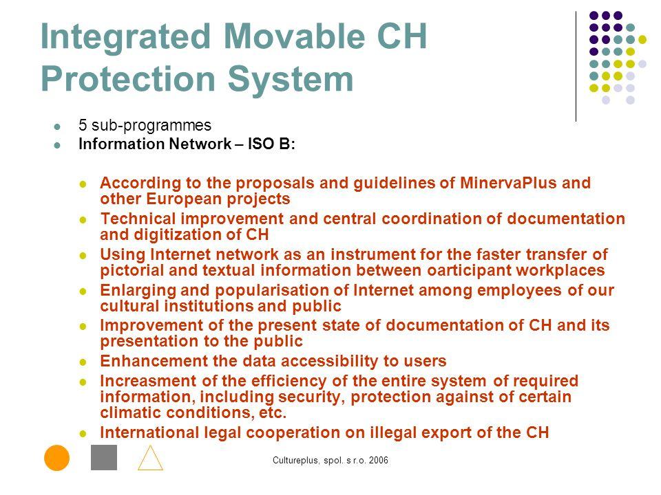 Cultureplus, spol. s r.o. 2006 Centrální evidence sbírek Integrovaný systém ochrany (ISO) Dostupnost Informace o muzejních a galerijních sbírkách Zákl