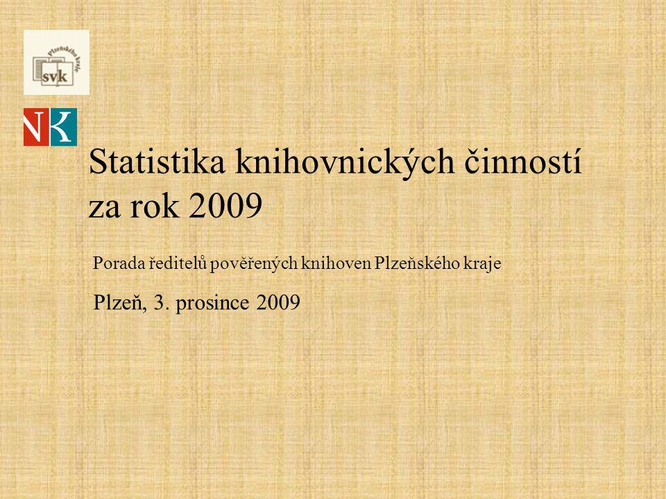 Statistika knihovnických činností za rok 2009 Porada ředitelů pověřených knihoven Plzeňského kraje Plzeň, 3.