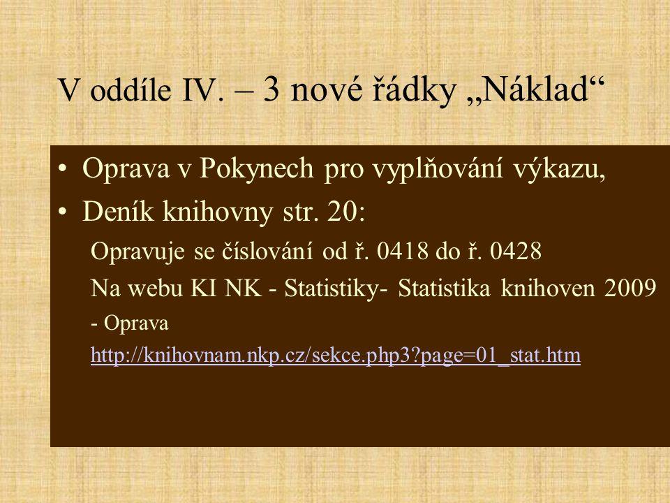 """V oddíle IV. – 3 nové řádky """"Náklad Oprava v Pokynech pro vyplňování výkazu, Deník knihovny str."""