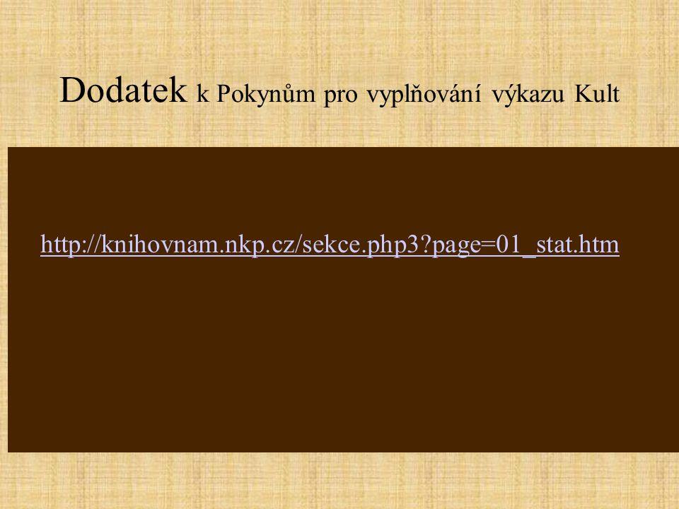 Dodatek k Pokynům pro vyplňování výkazu Kult http://knihovnam.nkp.cz/sekce.php3 page=01_stat.htm