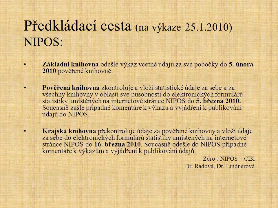 Předkládací cesta (na výkaze 25.1.2010) NIPOS: Základní knihovna odešle výkaz včetně údajů za své pobočky do 5.