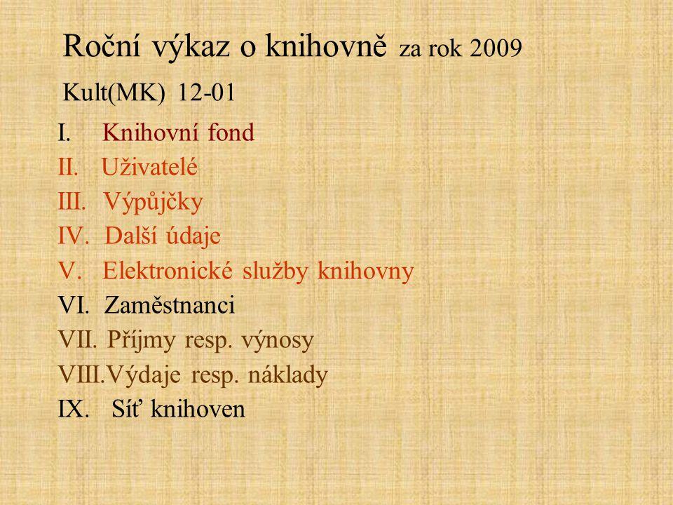 Roční výkaz o knihovně za rok 2009 Kult(MK) 12-01 I.