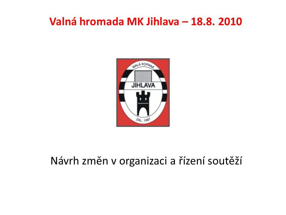 Návrh změn v organizaci a řízení soutěží Valná hromada MK Jihlava – 18.8. 2010