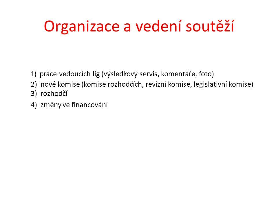 Organizace a vedení soutěží 1) práce vedoucích lig (výsledkový servis, komentáře, foto) 2) nové komise (komise rozhodčích, revizní komise, legislativní komise) 3) rozhodčí 4) změny ve financování