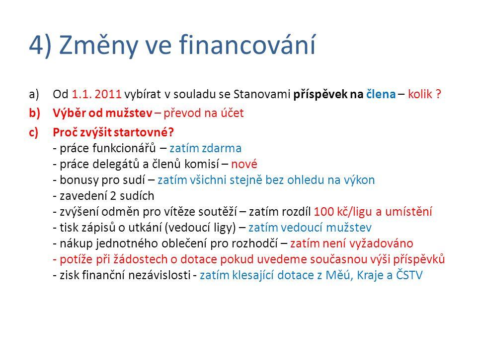 4) Změny ve financování a)Od 1.1. 2011 vybírat v souladu se Stanovami příspěvek na člena – kolik .