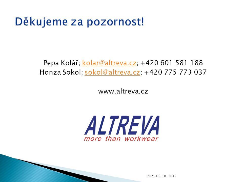 Pepa Kolář; kolar@altreva.cz; +420 601 581 188kolar@altreva.cz Honza Sokol; sokol@altreva.cz; +420 775 773 037sokol@altreva.cz www.altreva.cz Zlín, 16.