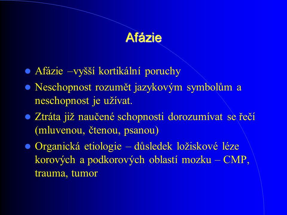Afázie Afázie –vyšší kortikální poruchy Neschopnost rozumět jazykovým symbolům a neschopnost je užívat. Ztráta již naučené schopnosti dorozumívat se ř
