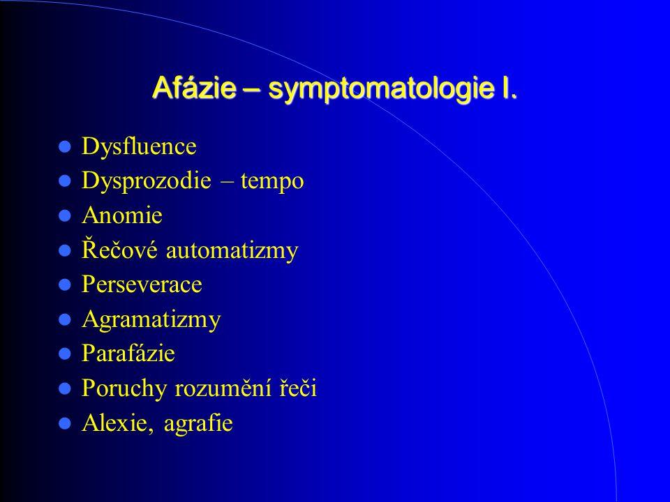 Afázie – symptomatologie I. Dysfluence Dysprozodie – tempo Anomie Řečové automatizmy Perseverace Agramatizmy Parafázie Poruchy rozumění řeči Alexie, a