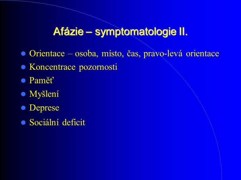 Afázie – symptomatologie II. Orientace – osoba, místo, čas, pravo-levá orientace Koncentrace pozornosti Paměť Myšlení Deprese Sociální deficit