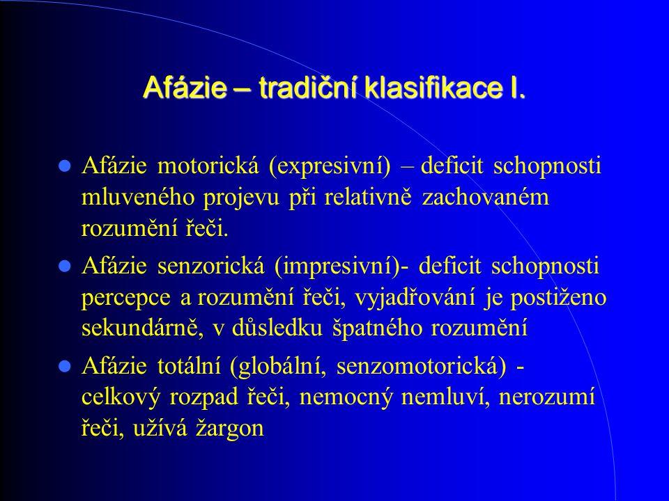 Afázie – tradiční klasifikace I. Afázie motorická (expresivní) – deficit schopnosti mluveného projevu při relativně zachovaném rozumění řeči. Afázie s