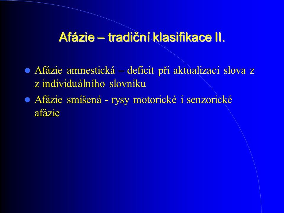 Afázie – tradiční klasifikace II. Afázie amnestická – deficit při aktualizaci slova z z individuálního slovníku Afázie smíšená - rysy motorické i senz