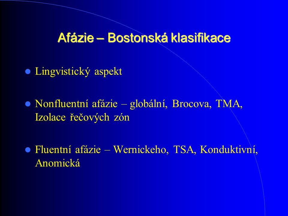 Afázie – Bostonská klasifikace Lingvistický aspekt Nonfluentní afázie – globální, Brocova, TMA, Izolace řečových zón Fluentní afázie – Wernickeho, TSA, Konduktivní, Anomická