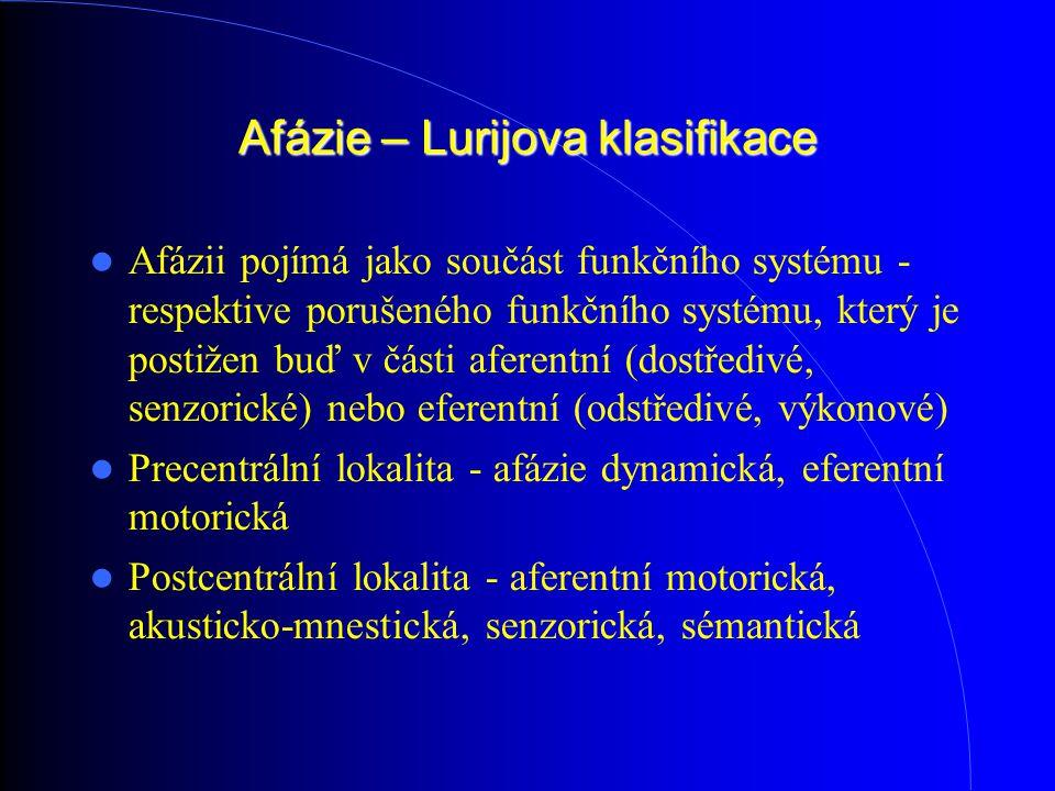 Afázie – Lurijova klasifikace Afázii pojímá jako součást funkčního systému - respektive porušeného funkčního systému, který je postižen buď v části aferentní (dostředivé, senzorické) nebo eferentní (odstředivé, výkonové) Precentrální lokalita - afázie dynamická, eferentní motorická Postcentrální lokalita - aferentní motorická, akusticko-mnestická, senzorická, sémantická